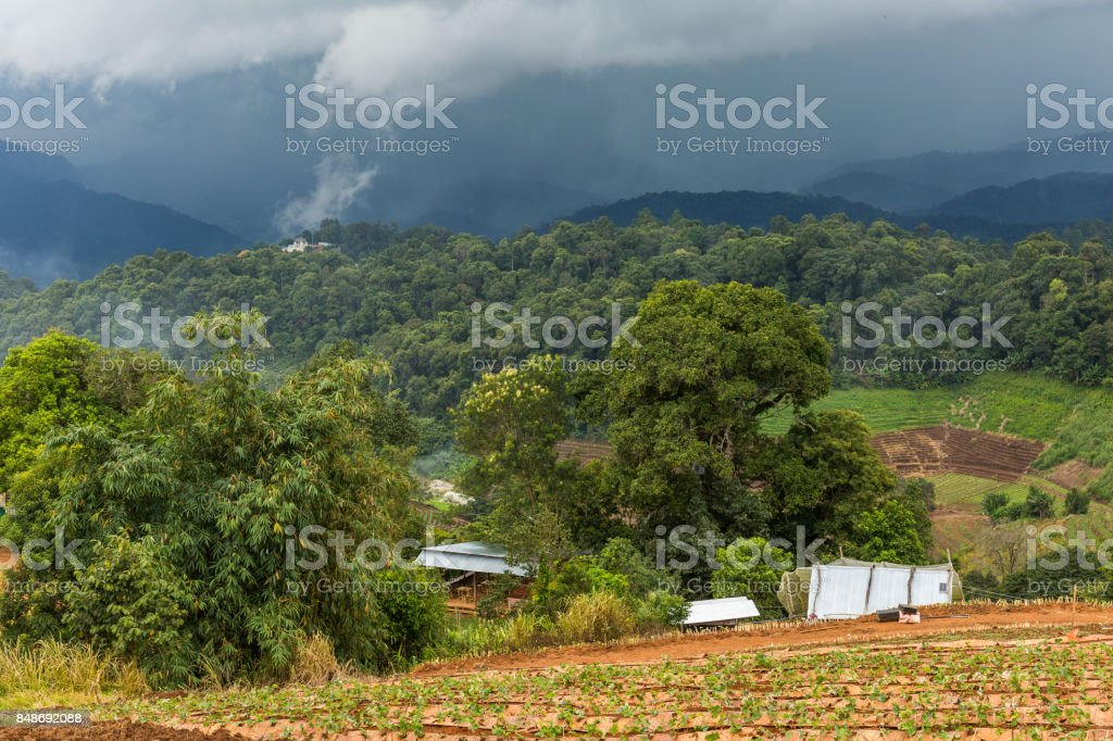Mountains in Mon Chaem region of Chiang Mai, Thailand stock photo