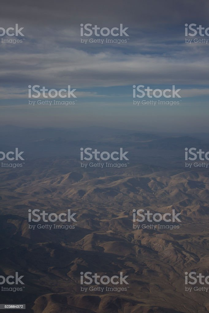 Mountains in Nevada with blue sky and clouds stock photo