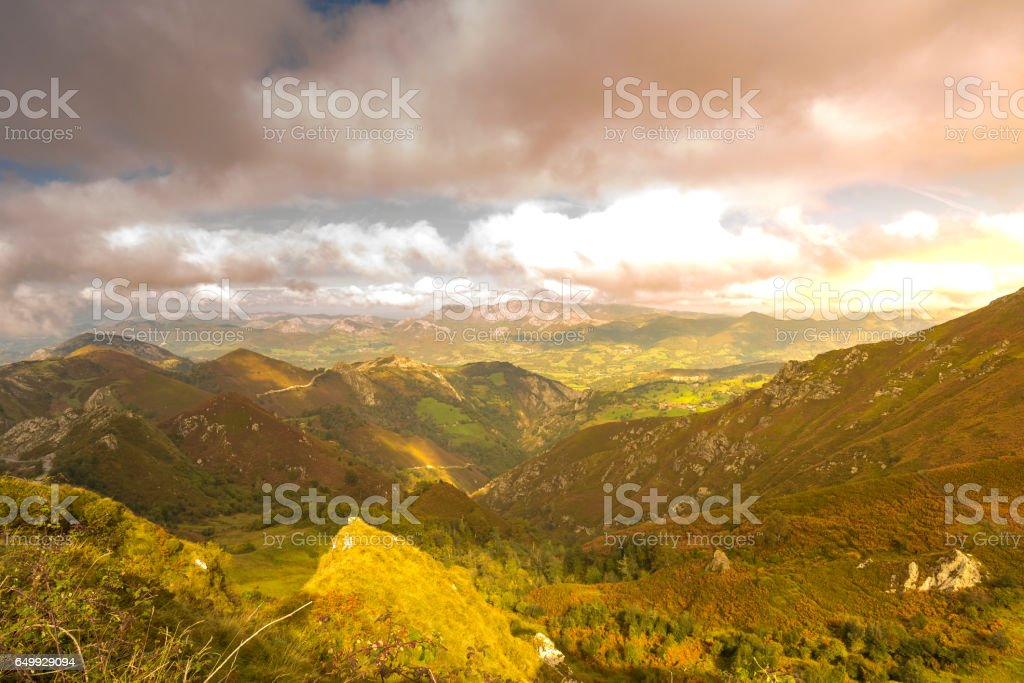 Mountains in Peaks of Europe. stock photo