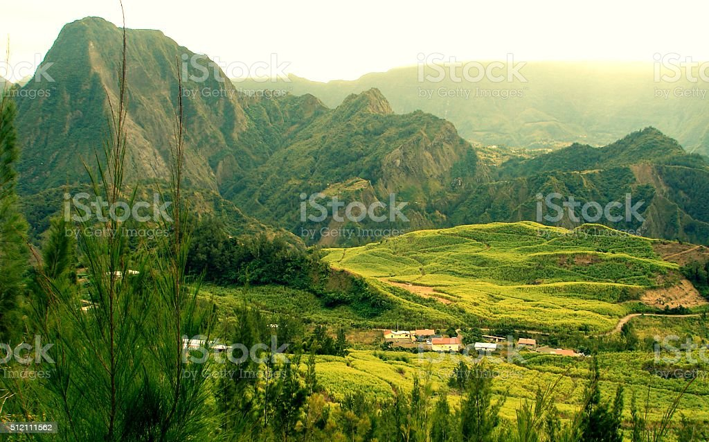 Mountains in Reunion Island stock photo