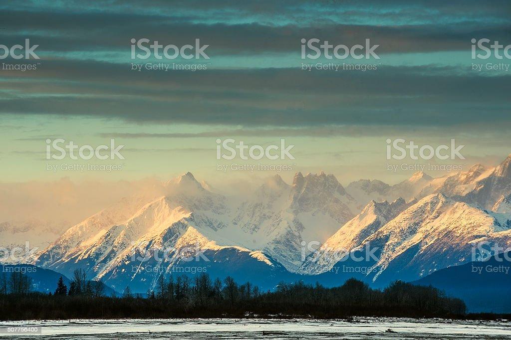 Mountains in snow stock photo