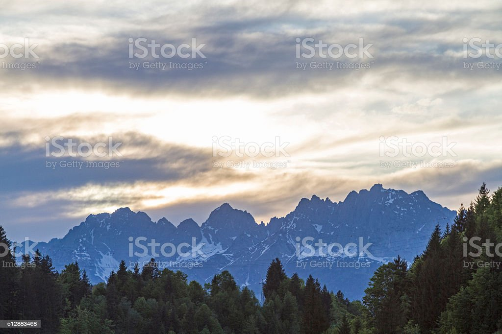 mountains in the evening stock photo