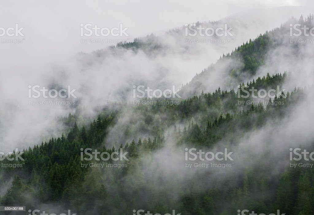 Mountains in the Fog stock photo