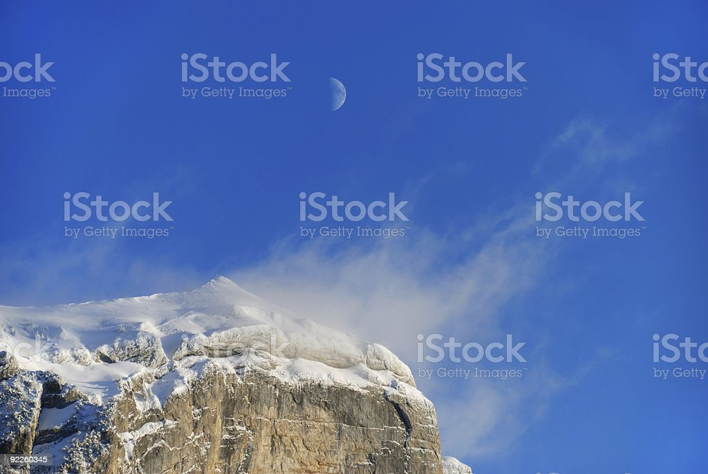 Mountains in the night stock photo