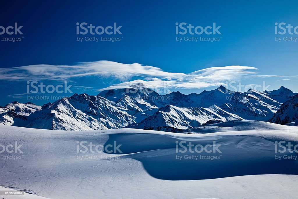 Mountains in the Swiss Alps, covered with snow royalty-free stock photo