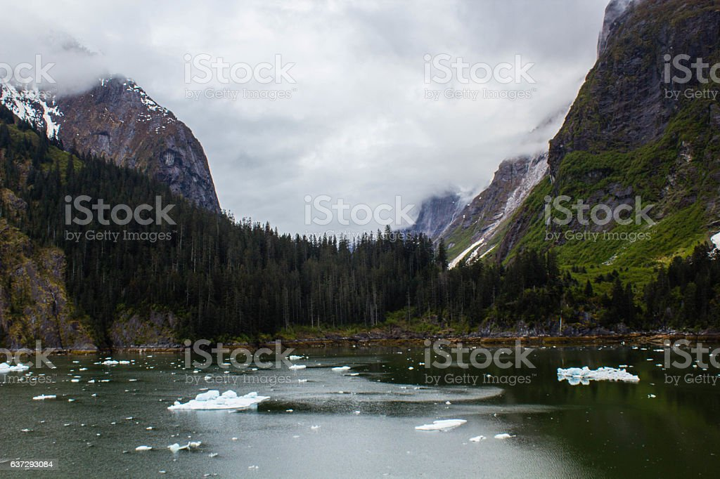 Mountains in Tracy Arm Fjord stock photo