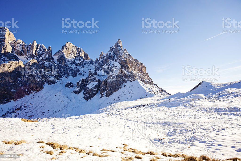 Mountains in Winter, Snowy Landscape, Dolomites royalty-free stock photo