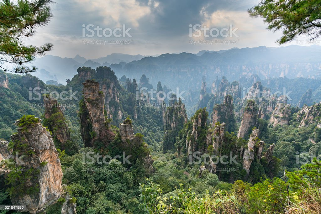 Mountains in Zhangjiajie national park stock photo