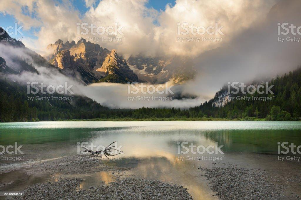 Mountains Lake at misty morning.  Landscape, Alps, Italy, Europe stock photo