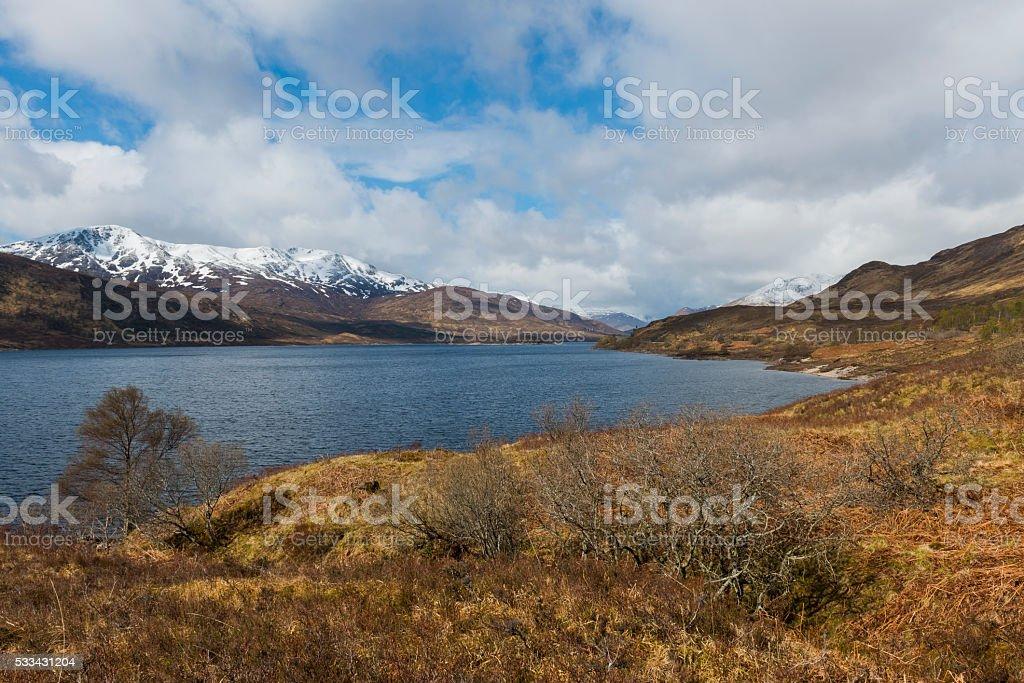 Mountains Lake Cluanie Scotland, Highlands stock photo