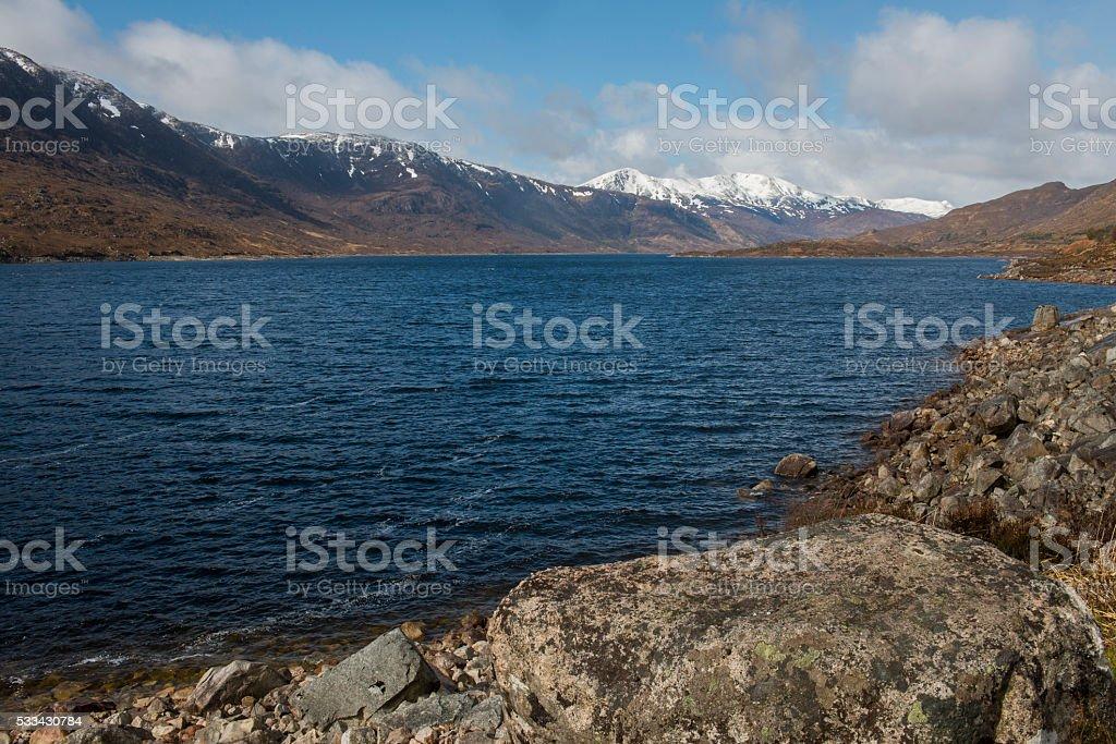 Mountains Lake Cluanie Scotland Snow stock photo