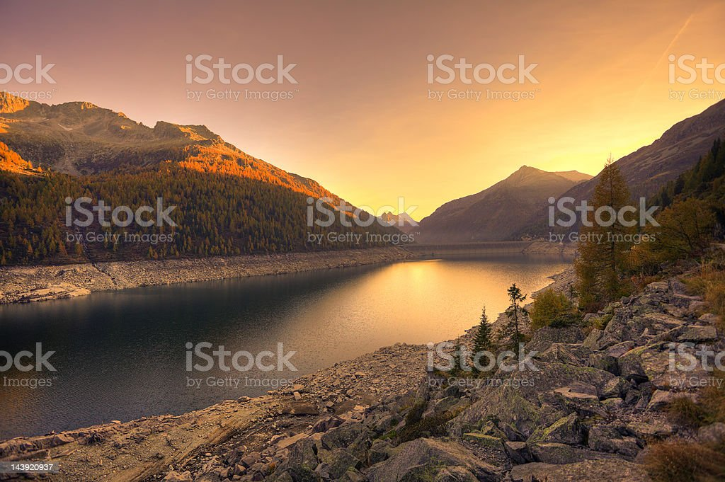 Mountains Landscape at Sunset stock photo