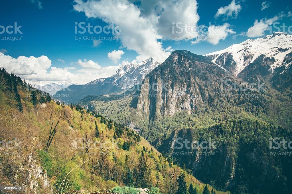 Mountains Landscape blue sky with clouds stock photo