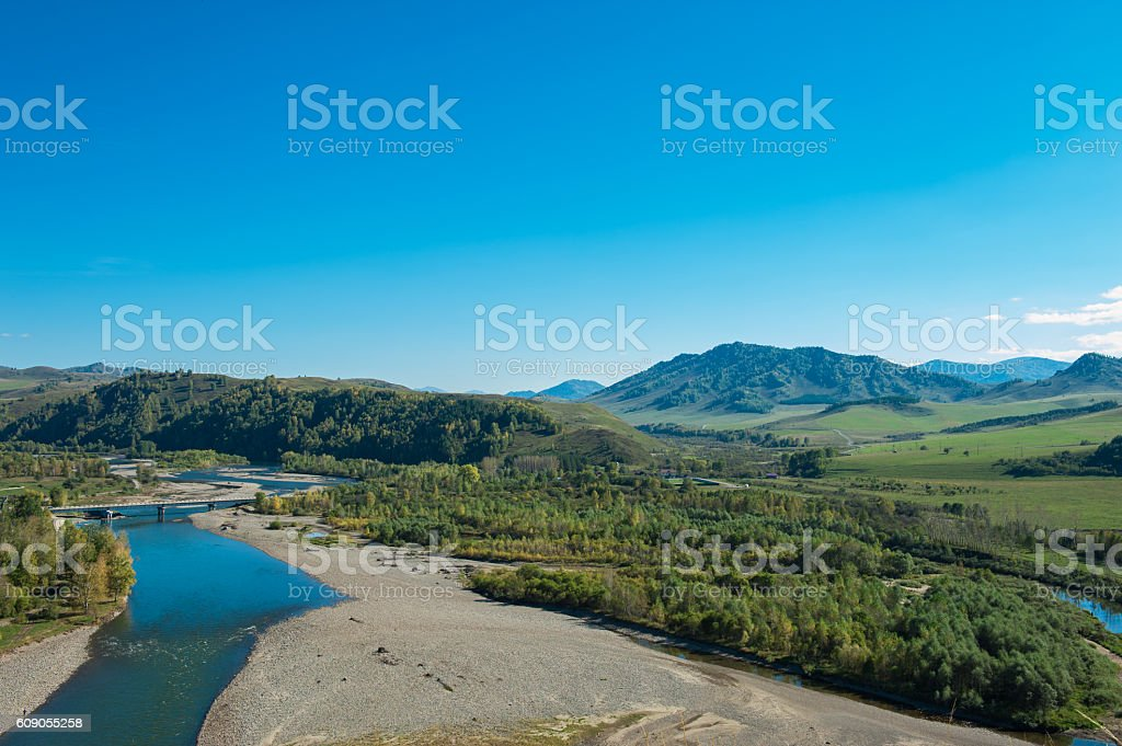 Mountains landscape in autumn day stock photo