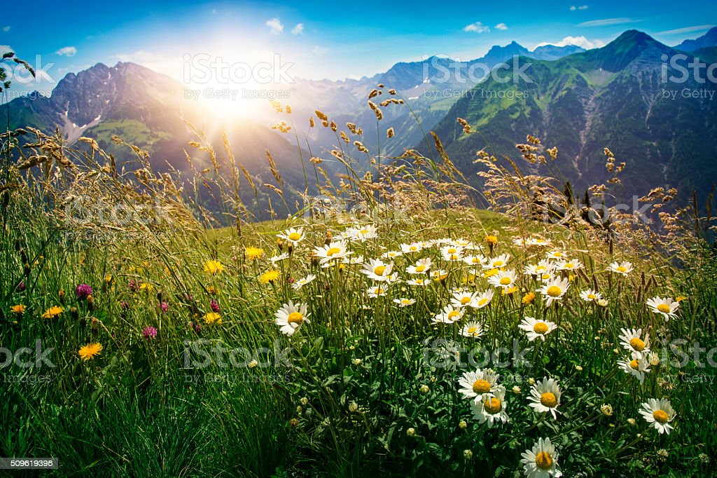 Mountains landscape in Vorarlberg stock photo