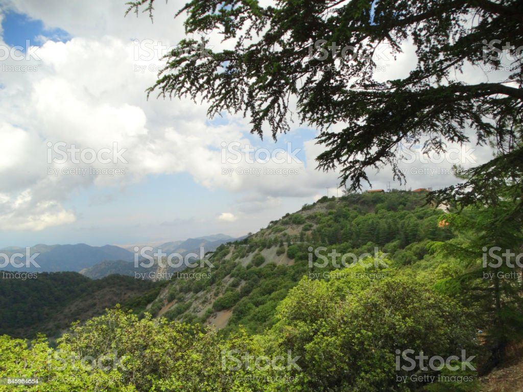 mountains landscape nature in troodos on cyprus island stock photo