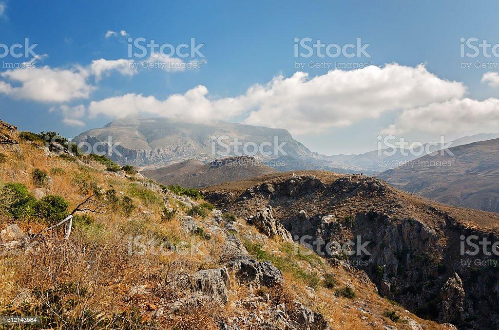 Mountains landscape near Preveli Beach - Crete, Greece stock photo