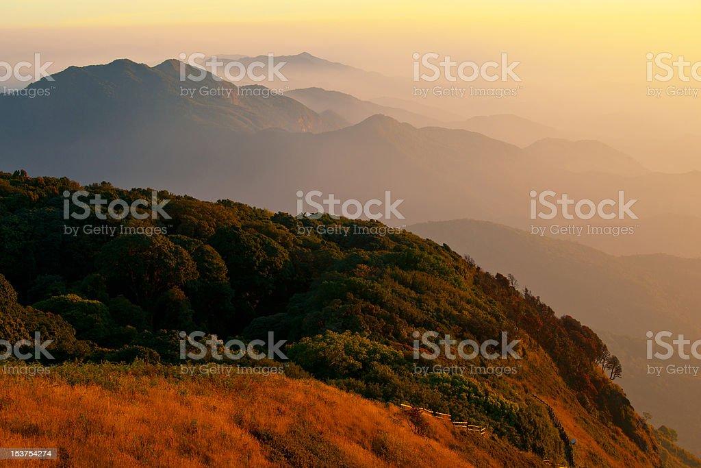 Mountains Landscape Sunlight Kew Mae Pan, Doi Inthanon Chiangmai royalty-free stock photo