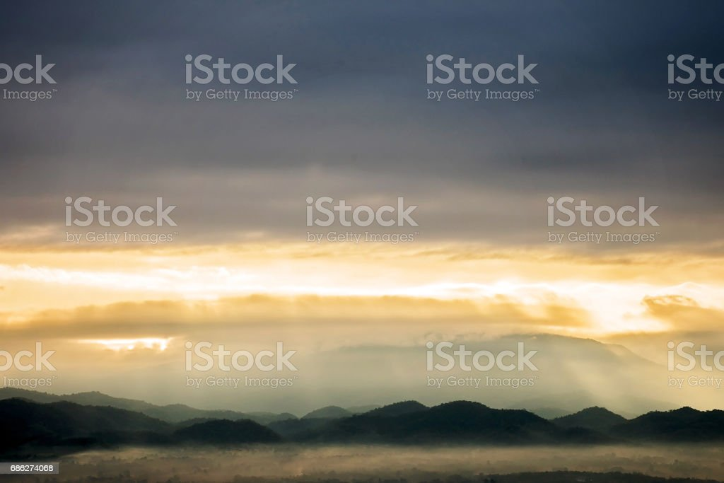 mountains landscape under morning sky with clouds.Thailand stock photo