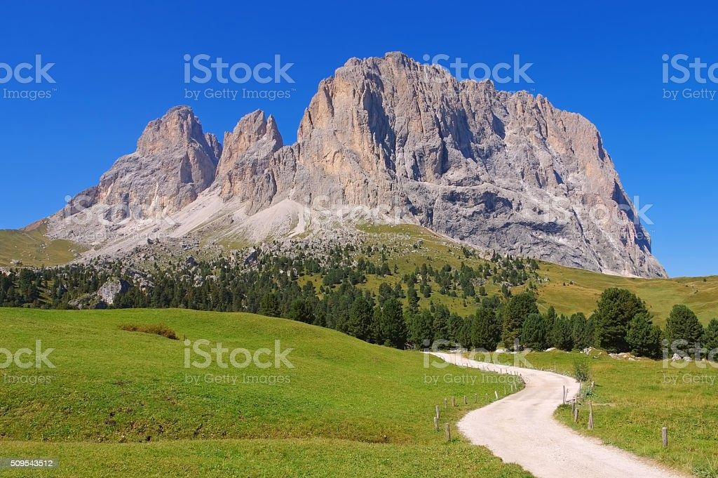 mountains Langkofel and Plattkofel in Dolomites stock photo