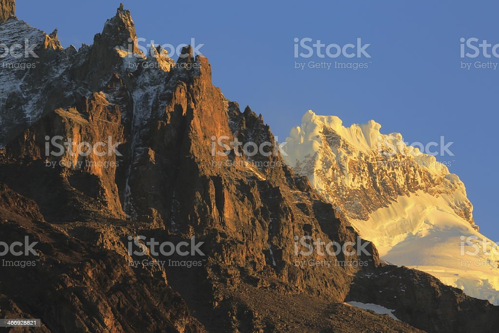 Mountains lit glacier at sunrise - Patagonia, Chile - South America royalty-free stock photo