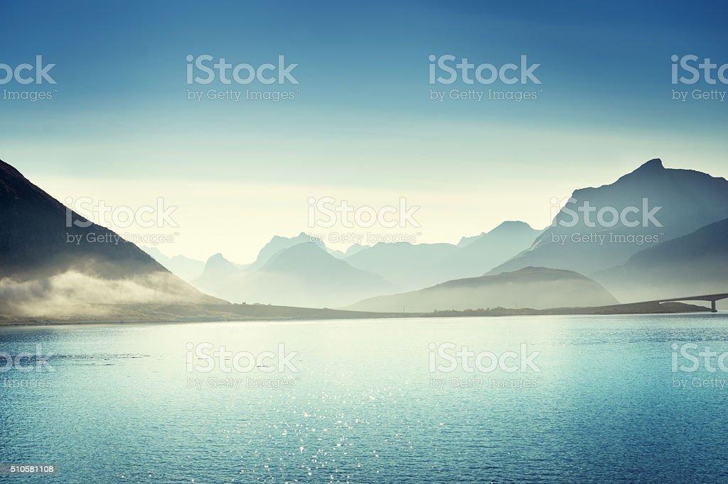 mountains, Lofoten islands, Norway stock photo