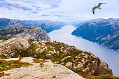 Mountains near the Preachers Pulpit Rock in fjord Lysefjord -