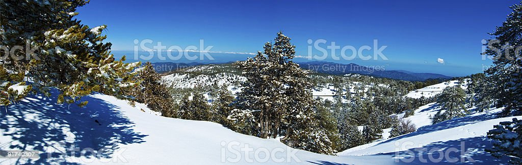 mountains of Cyprus panorama, with a bird's-eye view stock photo