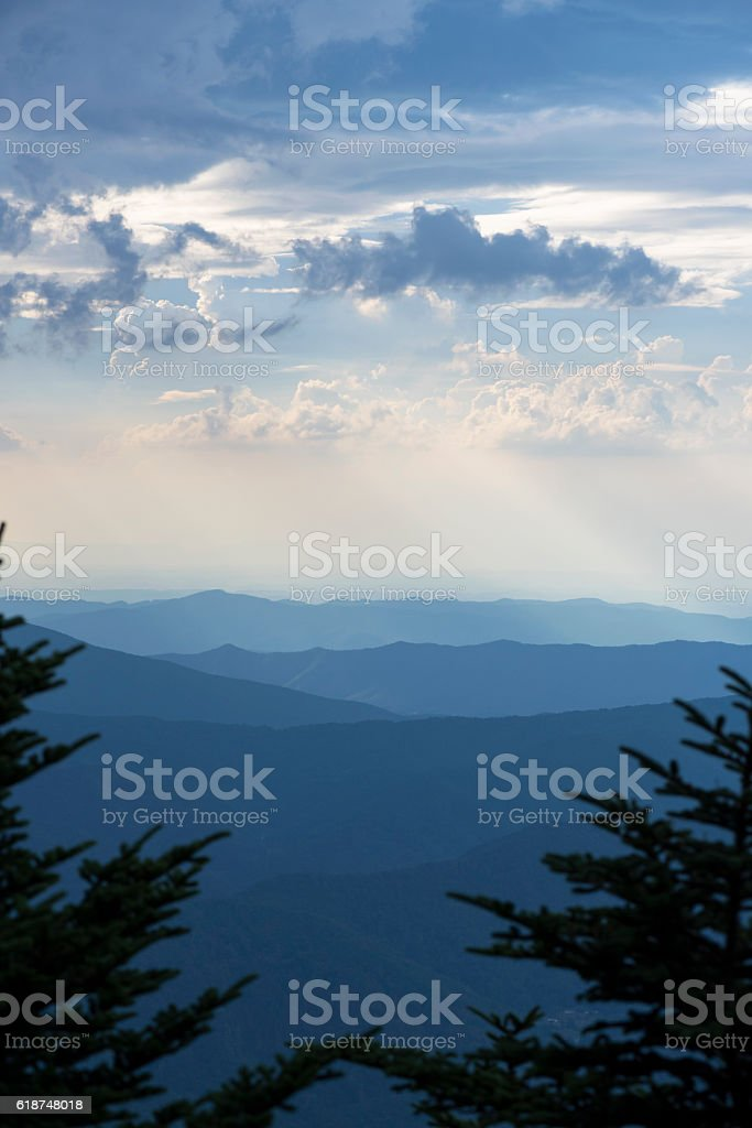 Mountains of East Tennessee viewed from Roan Mountain stock photo
