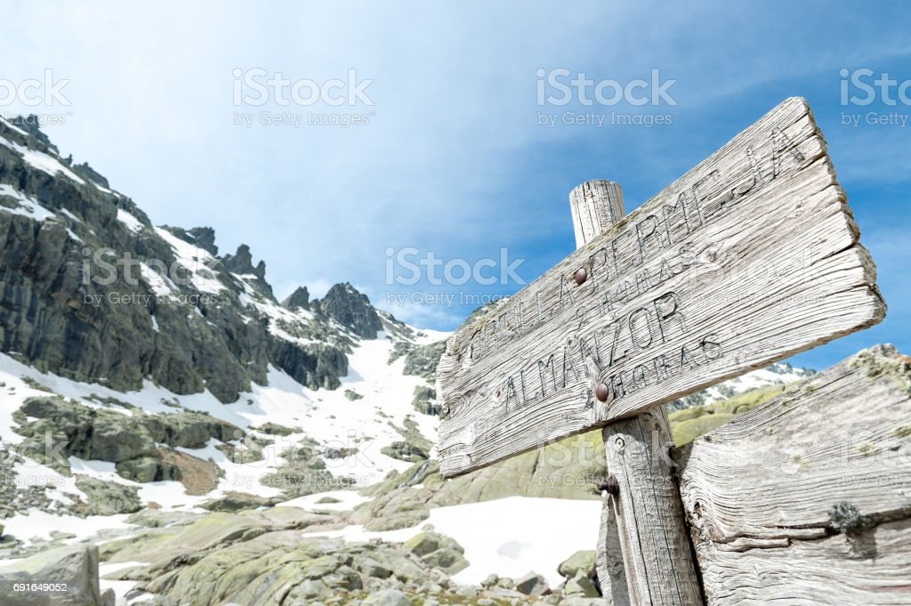 mountains of Gredos with remains of snow in spring stock photo