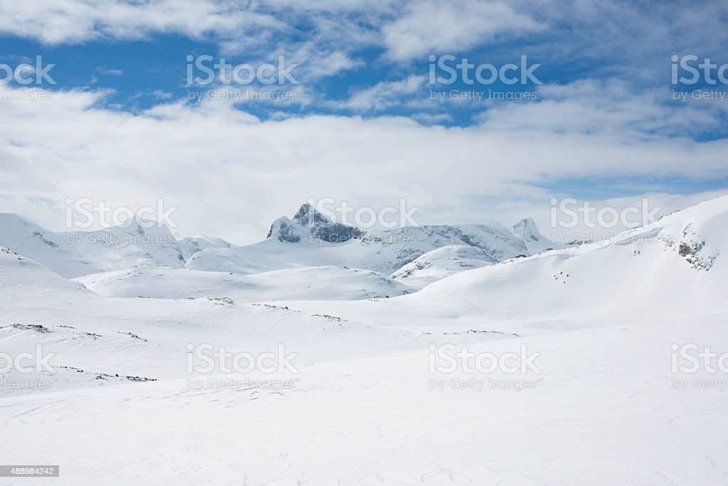 Mountains of Jotunheimen National Park in Norway in winter stock photo