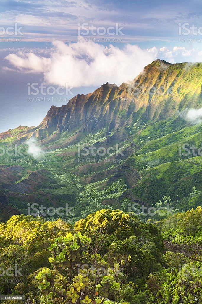 Mountains of Kauai stock photo
