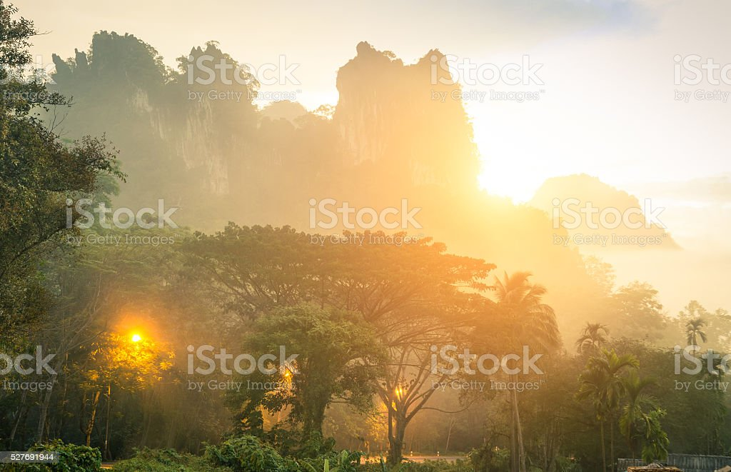 Mountains of Khao Sok national park in Thailand stock photo