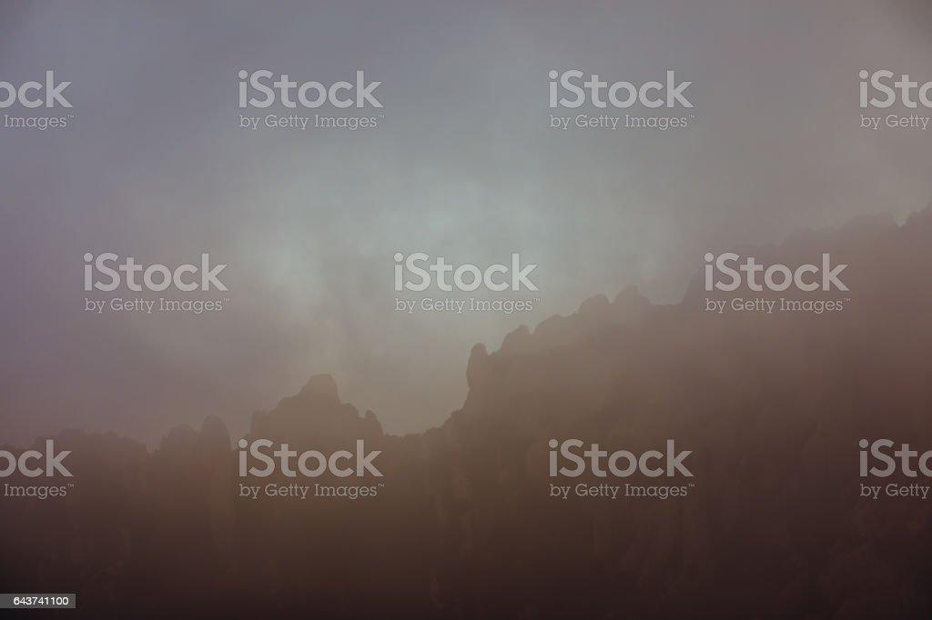 Mountains of Montserrat stock photo