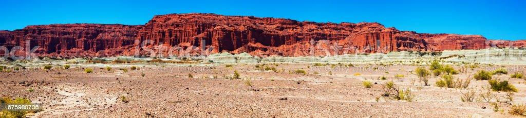 Mountains of red sandstone in Ischigualasto Park stock photo