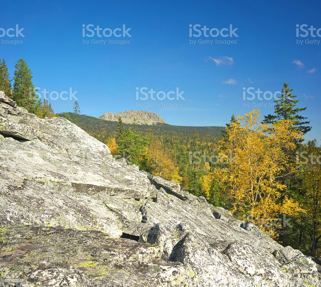 Mountains of Southern Ural stock photo