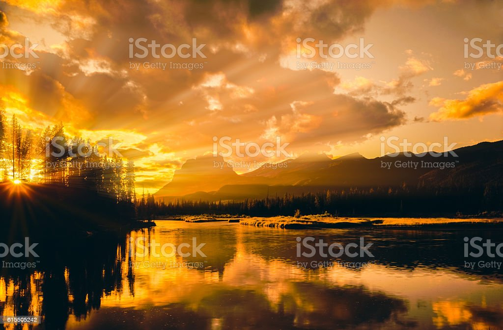 Mountains of the Canadian Rockies In Banff NP stock photo