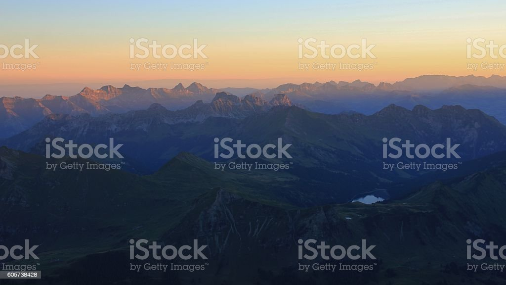 Mountains of the Swiss Alps at sunrise stock photo