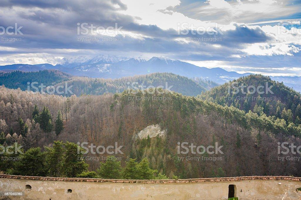 mountains Old farm house Brasov Transylvania Romania stock photo