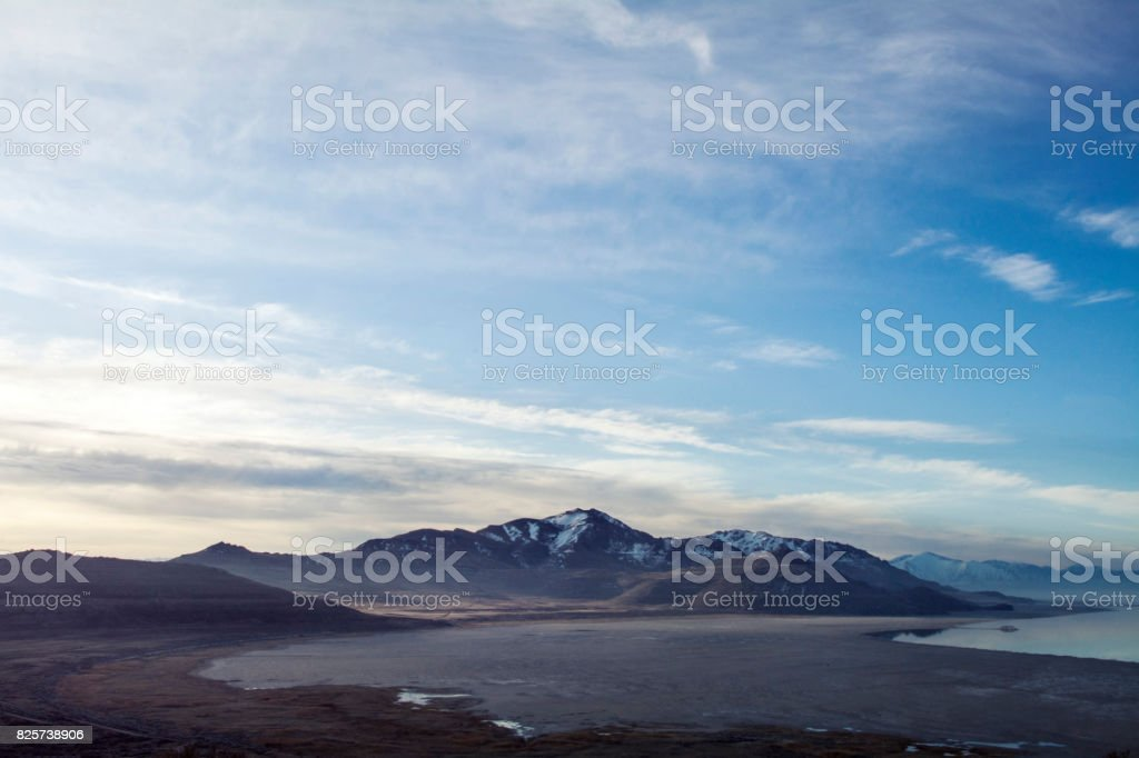 mountains on antelope island stock photo