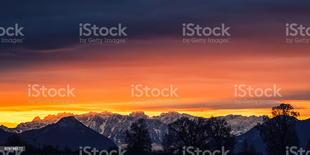 Mountains on Fire stock photo