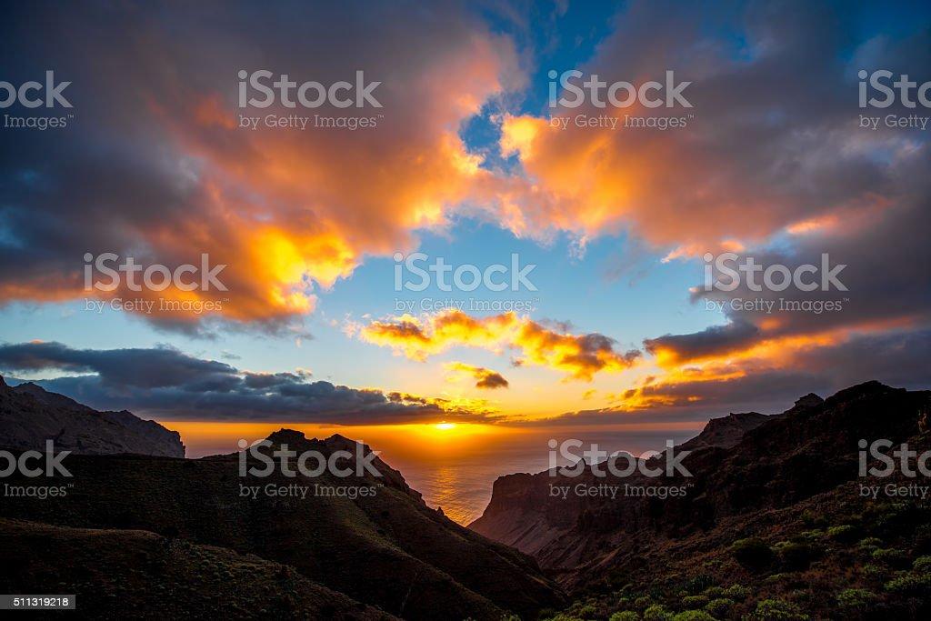 Mountains on La Gomera island stock photo