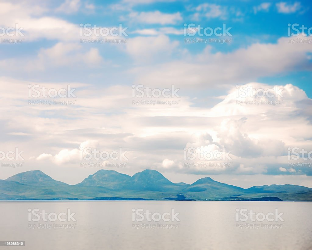 Mountains on the Isle of Jura from the sea stock photo
