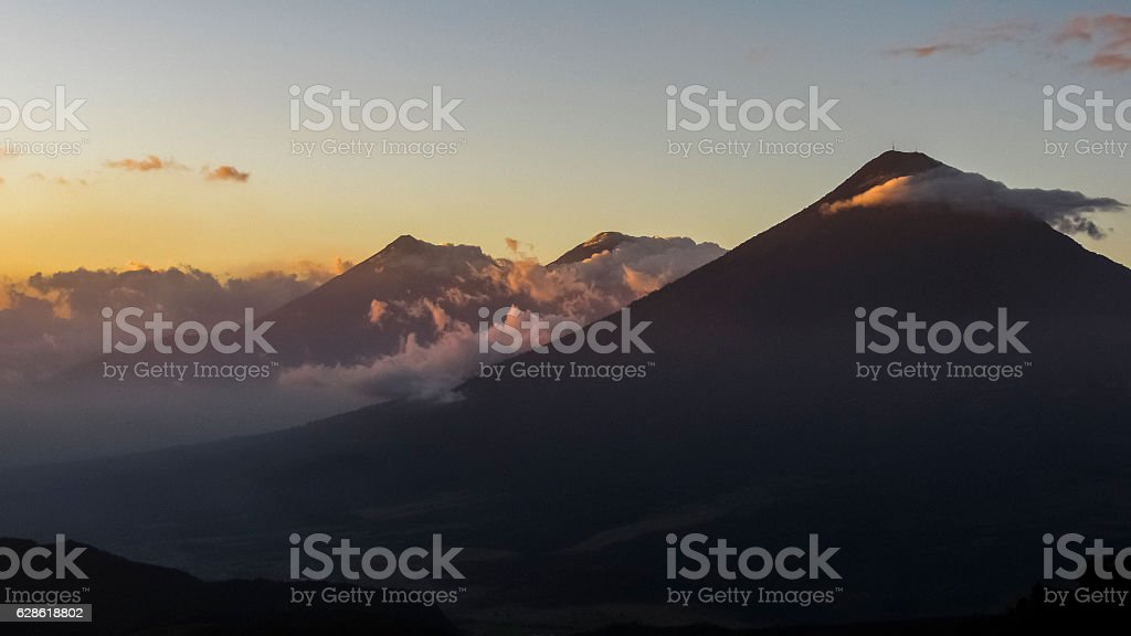 Mountains outside Guatemala City at sunset from Volcano Pacaya stock photo