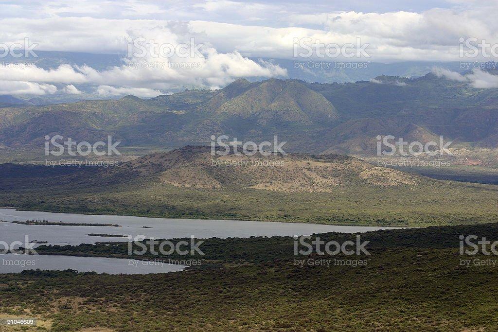 Mountains over Lake Chamo stock photo