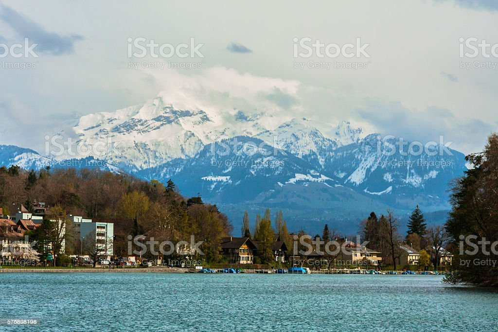 Mountains Over Thun stock photo