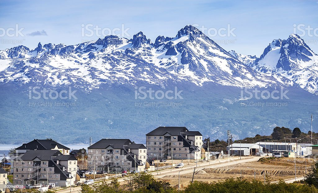 Mountains over Ushuaia, Argentina. stock photo