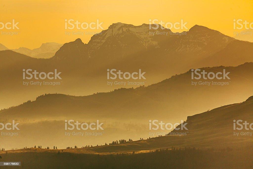Mountains range sunset stock photo