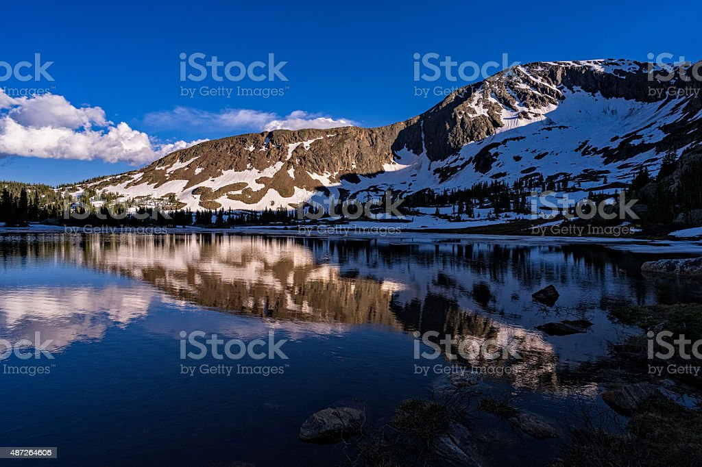 Mountains Reflected in Lake stock photo
