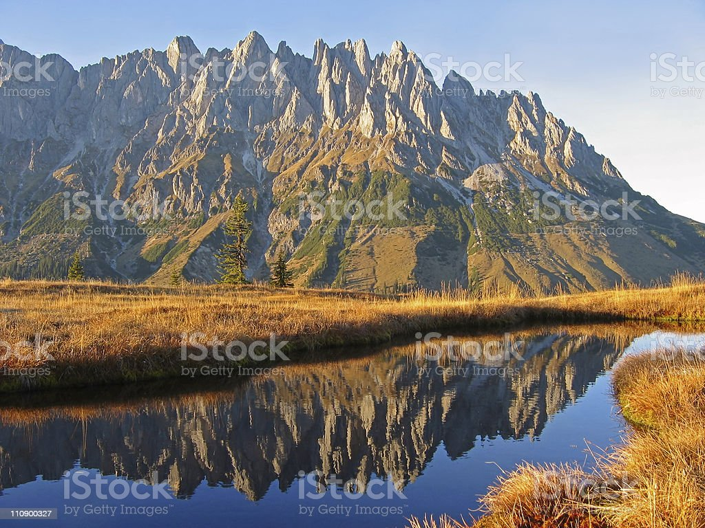Mountains reflecting in water at sunset royalty-free stock photo